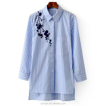 100% cotton soft embroidery blue and white stripe lady blouse plus size women shirts