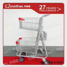 SCE-1 metal material two tiers supermarket carts shopping trolley