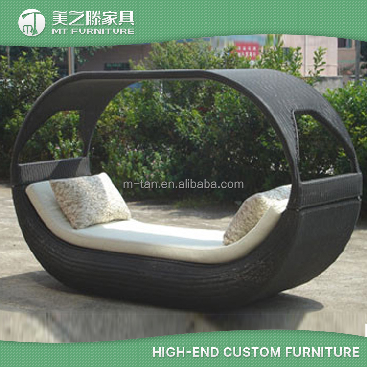 New design vessel shaped rattan furniture wicker outdoor round lounger with canopy