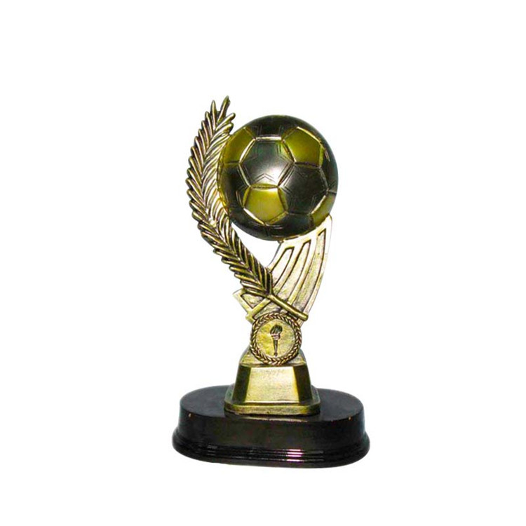 Wholesale custom polyresin resin sports trophy  football soccer trophy awards