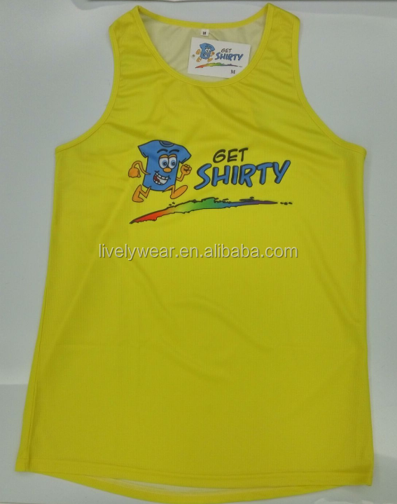 2016 new style sublimation sports running shirts/tank tops, OEM services quick dry fit singlets