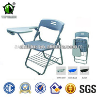 Plastic folding conference writing table chair with writing tablet