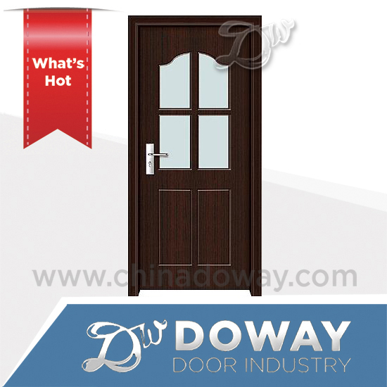 Flush half wall door panel with simple v groove line design