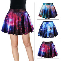 2017 high quality ladies digital print short pleated skirt for women