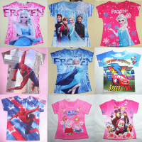 wholesale fashion boys and girls printed short t shirts for 2-8 years kids tshirt frozen girls tshirt