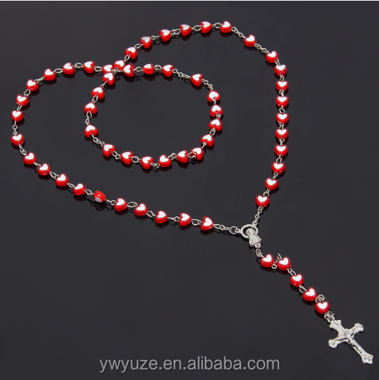 8mm Acrylic Heart Sharp Beads Rosay necklace with Cross Pendant