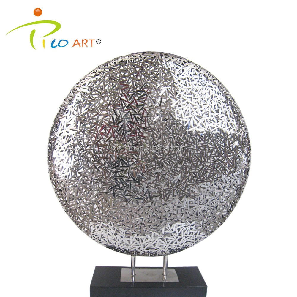 Modern metal bright silver round stainless steel table sculpture