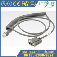 Coiled 5V direct power RS232 cable connects to a Nixdorf Beetle POS system.