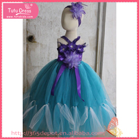 2015 latest blue nice girl Handmade baby dress for girls of 10 years old
