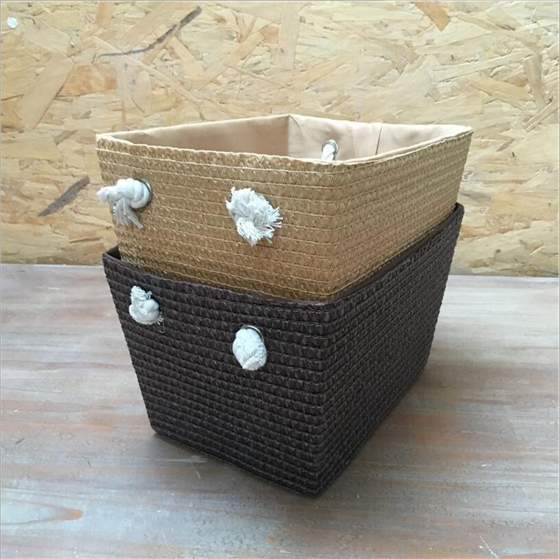 DM 841 Pastoralism PP Straw Plaited Article Handmade Vintage Large Storage Baskets