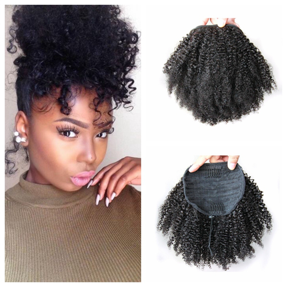 Golden Saler Ponytail Natural Hair Extensions Kinky Curly Brazilian