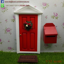 1/12 Scale Red Tooth Fairy Door With Mailbox Miniature Fairy Garden Supplies