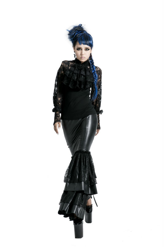 Q-194 Punk gothic long sleeve mermaid evening dress/wonderful pleated-skirt made in china