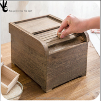 Pan eco-friendly hand made storage wooden box with lid wood rice container