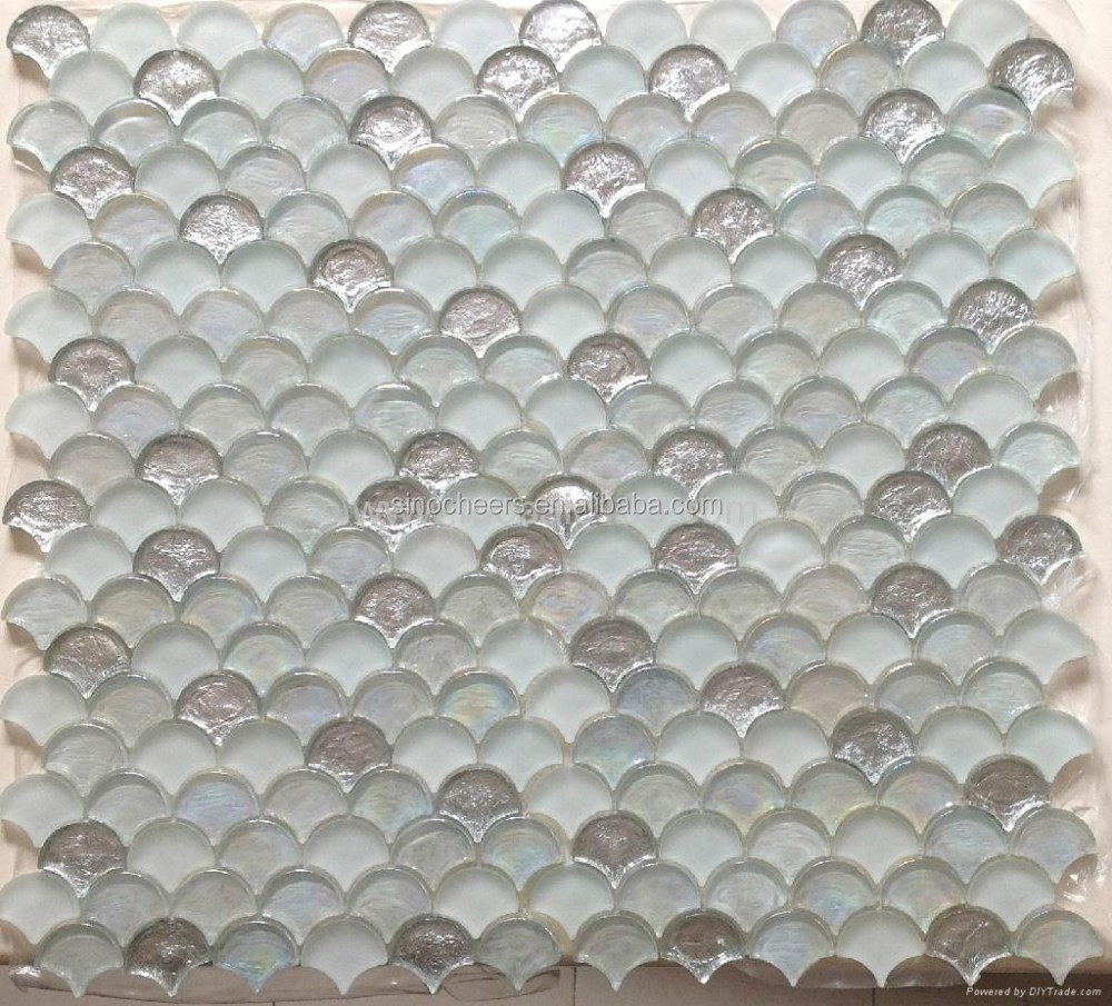 Glossy Fish Scale Glass Mosaic Tiles for Spa