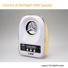 portable mini small colorful led flashlight dj sound bass speakers box USB TF card mp3 player amplifier speaker system with FM
