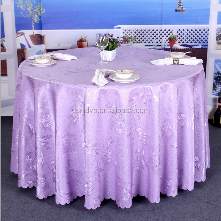 Custom Round Polyester Tablecloth,LinenTablecloth Embroidered White for Hotel