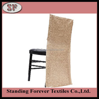 Cheap Sequin Square champagne Gold Back ruffled wedding Chair Covers