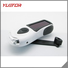 Secure Waterproof Hand crank or built in Solar powered 3 LED Zoom Flashlight, High power 3 functions LED