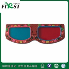 Paper passive customized logo waterproof paper anaglyph red blue 3d glasses