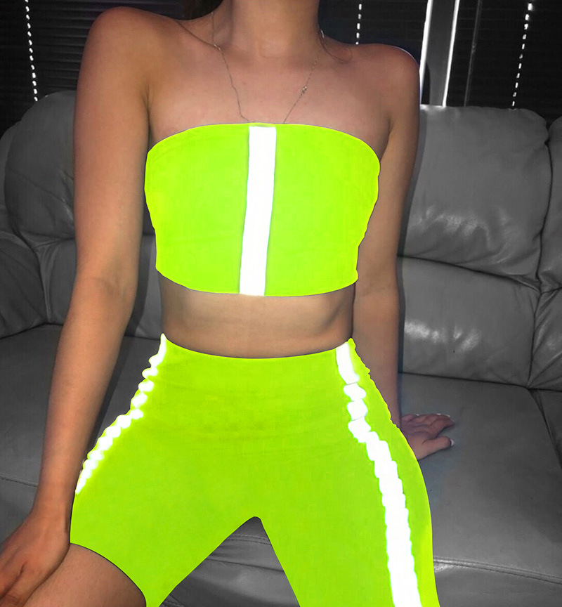 Stretchy Neon Reflective Striped Biker Shorts Set Tracksuit Women Two Piece Fitness Crop Top And Short Matching Sets
