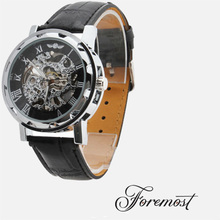 Black Partially Hollow Transparent Dial Black PU leather Band Automatic Mechanical Wrist Watch