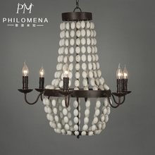 New European vintage wooden beads chandelier 6-lights wrought iron crown pendant lighting with UL/CE