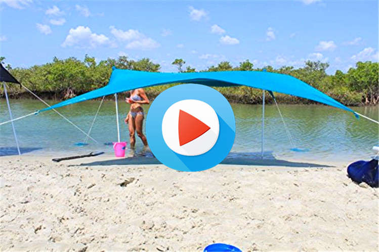 GSV SEDEX Factory - Custom - Wholesale - Folding Beach Tent - Beach SunShade - Camping Tent - With Sandbag Anchors