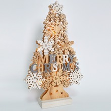 Warm White Light Wooden Christmas Tree Light Festive Table Top Decoration