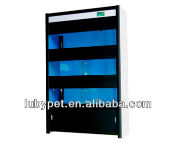 Shop glass Show Rack HYB fish display system for fish breed keep, with 3 aquariums and aquarium light ,sump filtration system