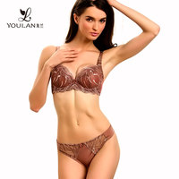 Transparent Lace Underwire Push Up Bra & Brief Sets Sexy Bra Penty