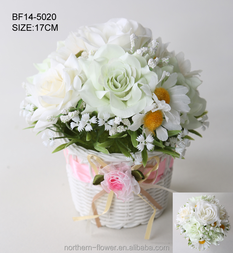 China factory direct artificial flowers, rose and daisy flowers arrangement combination