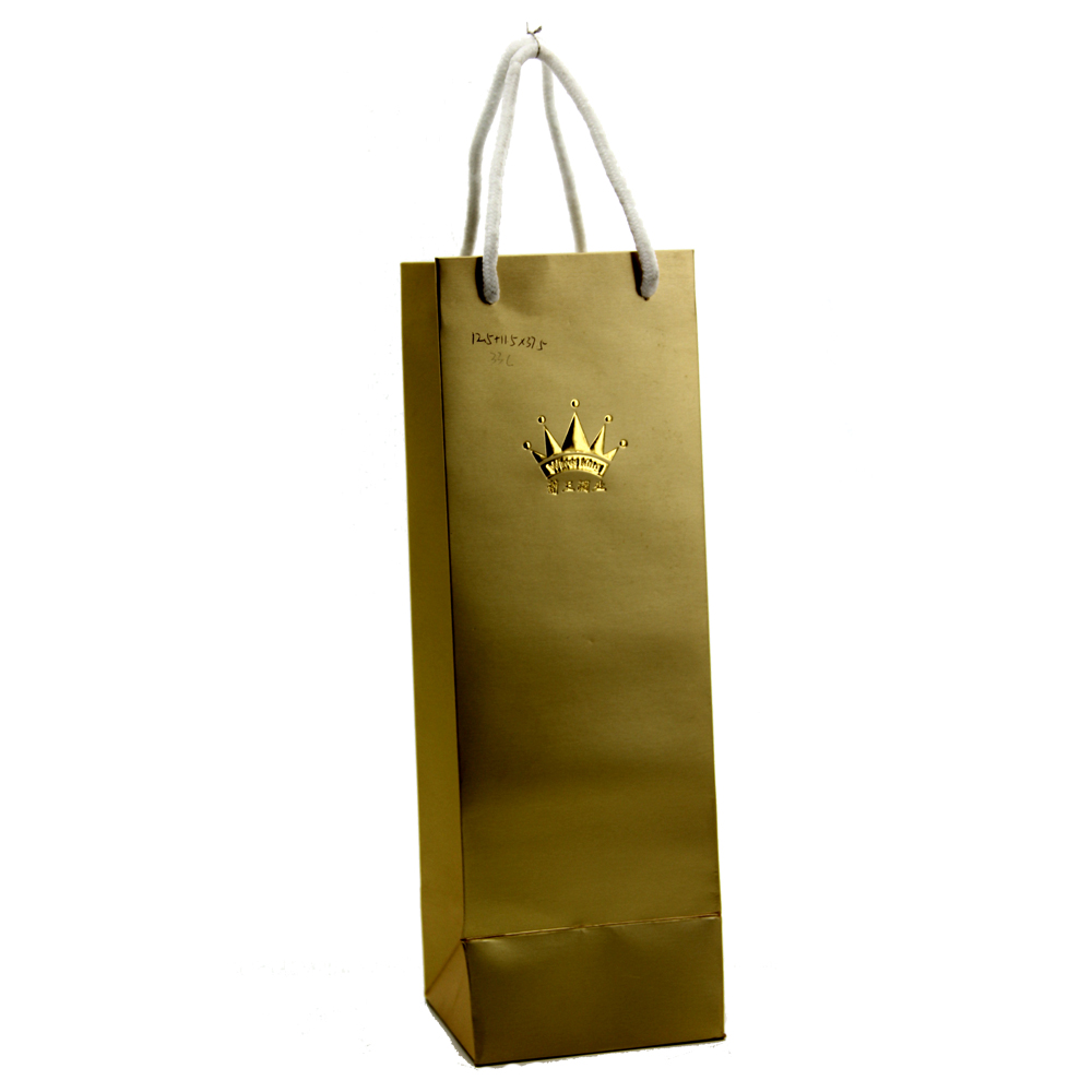 gold stamping logo print shopping paper gift wine bags