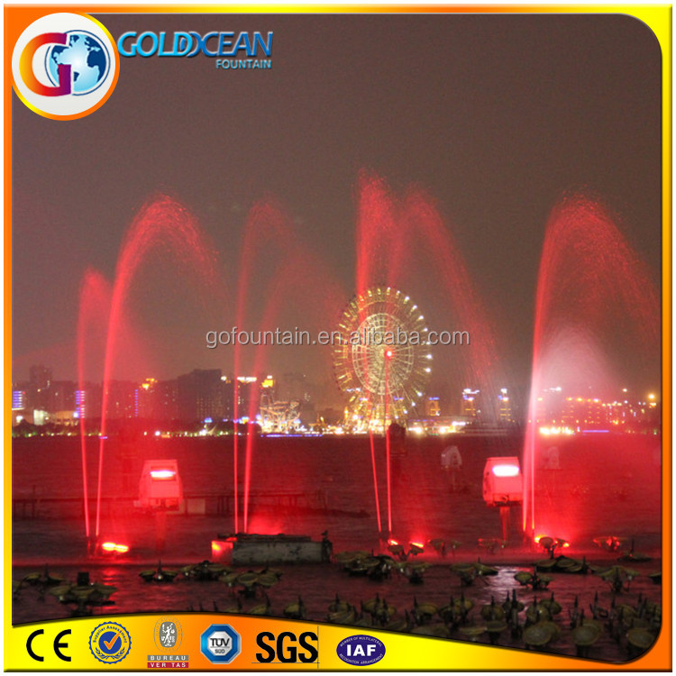 Customized big colorful multimedia water musical fountain with pump