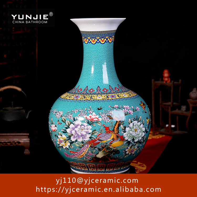 China supplier red big chinese vase wood vase ceramic vase