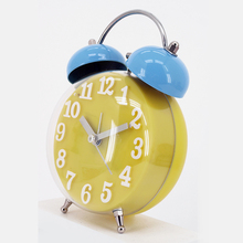 Yellow unique design desk two bell ring alarm clock