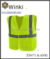 yellow hi vis mesh reflective vest with strips
