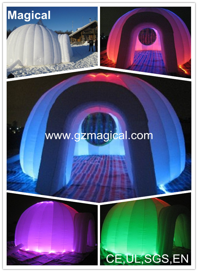 oxford nylon inflatable lawn event tent with LED for night club party