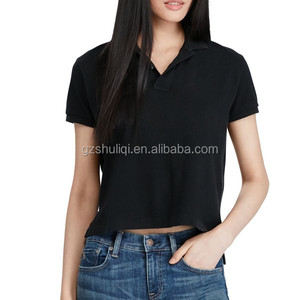 Ladies Breathable 100% Cotton Pique Polo Shirt New Design Cropped Polo T Shirt