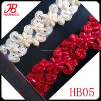 wholesale new fashion crystal beaded lace trimmings for dresses, pearl beaded lace trim