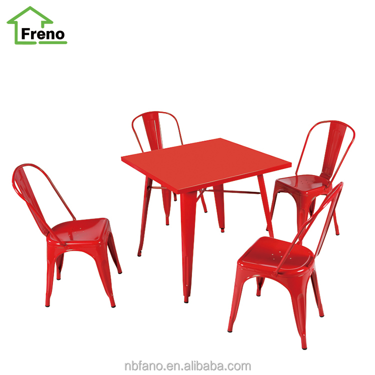 Industrial Metal Furniture Metal Dining Set 4- Seat Metal Table And Chair