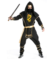 Man Black ninja costume Halloween Party Fancy Dress Costume