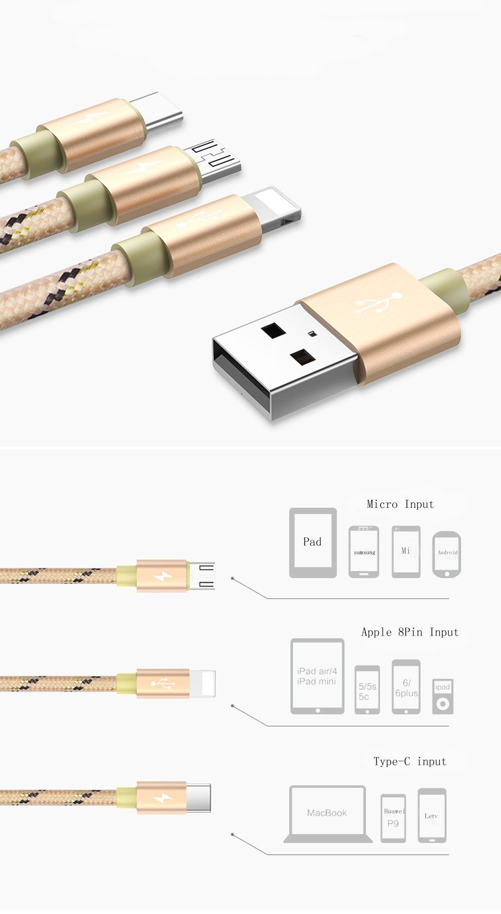 YOOBAO 120cm 3 in 1 cables with Type-C Micro light-ning interface