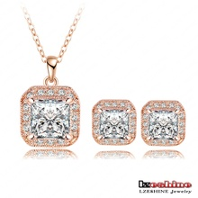 Sparkling Square Earring &Necklace Sets 18K Rose Gold/Platinum Plated SWA Elements CZ Crystals and Zircon Jewelry Sets ST0022mix