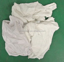 white t-shirt 100% cotton cutting wiper for cleaning glass and machine