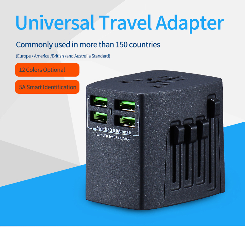 5V 5A 4 USB Port All in One Universal International Plug Adapter /World Travel AC Power Charger Adaptor Rose Gold