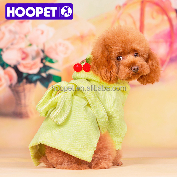 HOOPET loose casual bathrobe with cherry on hoodie pet dog clothes for europe