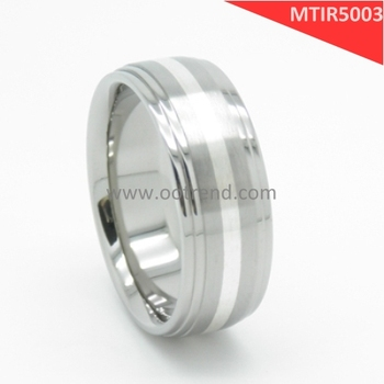 Lastest silver ring inlay titanium couple engagement ring