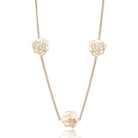Elegant Jewelry for Women Alloy Gold Tone Hollow Flower Charm Rhinestone Chain Long Necklace