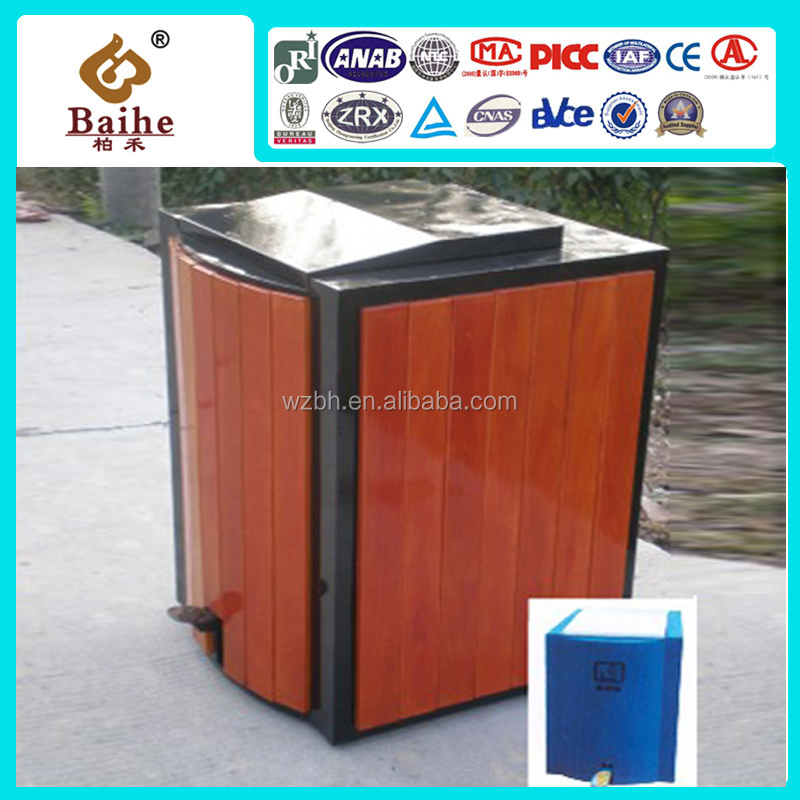 2016 wood grain steel powder coating curver pedal waste bin